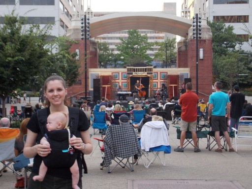 Baby Jake was a fan of the music! There is so much for him to see in Market Square, he can't even be bothered to look at the camera.