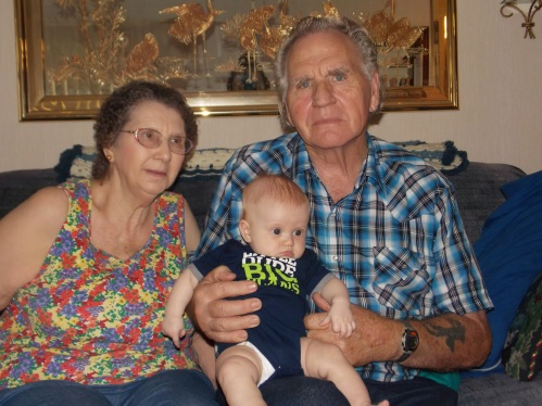 Jake meeting his great grandparents! Look how big my Papa's hands look wrapped around Baby Jake's little body!